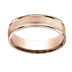 14k Rose Gold 6mm Comfort-fit Satin Finish Center With Milgrain Band Ring Sz-11