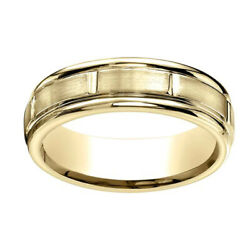 14k Yellow Gold 6mm Comfort-fit Satin-finished 8 High Polished Band Ring Sz-13