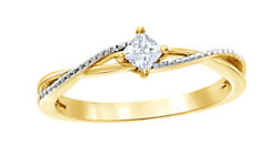 1/5 Ct Princess Cut White Natural Diamond Twine Promise Ring In 10k Yellow Gold