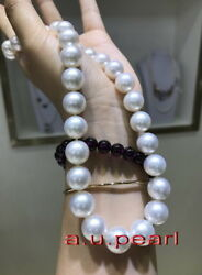 Top Luster Perfect Round 1712-15mm Real South Sea White Pearl Necklace 14k Gold
