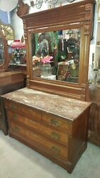 Antique Large Dresser W/ Mirror And Marble Top - Eastlake - Walnut