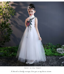 Childrens Girls Fancy Elegant Floral Embroidered Traditional Chinese Qipao Dress