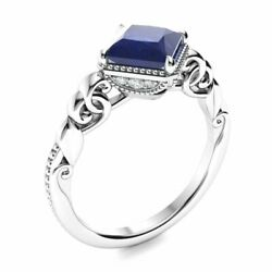Vintage Princess Cut Natural Sapphire And Diamond Engagement Ring 14k White Gold