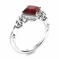 Vintage Princess Cut Natural Aaa Ruby And Diamond Engagement Ring 14k White Gold