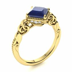 Vintage Princess Cut Natural Sapphire And Diamond Engagement Ring 14k Yellow Gold