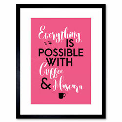 Anything Possible Coffee Mascara Feathers Eyes Framed Wall Art Print 12x16 Inch