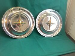 """Rare Vintage Set Of 2 1954 Chrysler 15"""" Hubcaps New Yorker Good Condition Nice"""