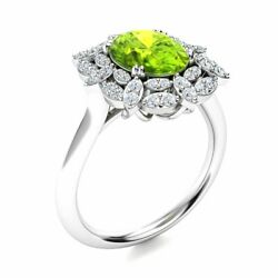2.16 Cttw Genuine Peridot And Si Diamond Vintage Engagement Ring 14k White Gold