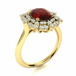 2.24 Cttw Genuine Garnet And Si Diamond Vintage Engagement Ring 14k Yellow Gold