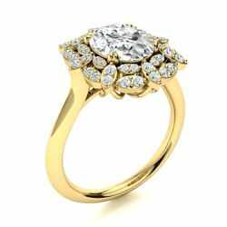 2.6cttw Genuine White Topaz And Si Diamond Vintage Engagement Ring 14k Yellow Gold
