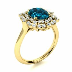 2.6cttw Real London Blue Topaz And Diamond Vintage Engagement Ring 14k Yellow Gold