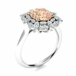 1.94 Cttw Genuine Aaa Morganite And Diamond Vintage Engagement Ring 14k White Gold