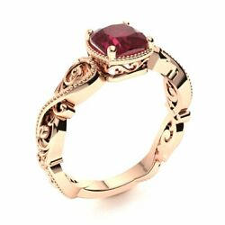 Victorian Style 14k Rose Gold Cushion Cut Genuine Aaa Ruby Engagement Ring