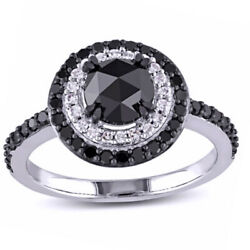 1 1/2 Ct Black And White Natural Diamond Double Frame Ring In 10k White Gold