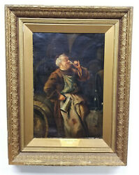 Antique Oil Painting On Canvas Monk Wine Tasting Unsigned Gold Frame Large