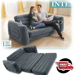Inflatable Bed Queen Sofa Furniture Intex Pull Out Guest Room Air Mattress New