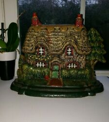 English Cottage With Thatched Roof And Dual Chimneys Cast Iron Door Stop Original