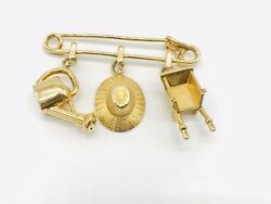 Cartier 18K Yellow Gold Gardening Charms Brooch Safty Pin