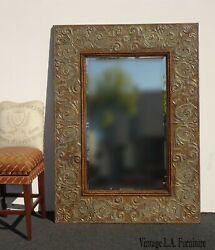 Large Repousse Vintage Hollywood Regency Copper Embossed Wall Mantle Mirror