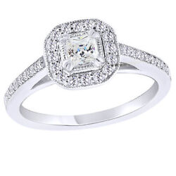 1 Ct Princess And Round Cut Natural Diamond 10k White Gold Halo Engagement Ring
