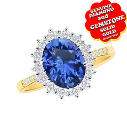 0.50 Ct Oval Cut Blue Sapphire And White Diamond 9k Gold Cluster Ring