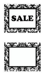 100 5 ½ X 7 Black White Damask Sale Sign Cards Retail Sales Signs Advertising