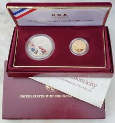 1988 Olympic 2-coin Proof Set W/ Box And Papers-free Ship-oly-5 Gold 1 Silver
