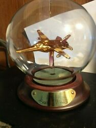 Rare F-11 Swing Wing Gold Colored Jet Inside Display Case Free Shipping