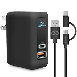 Naztech Quick Charge 3.0 +usb-c Wall Charger W/hybrid Usb-c Charge And Sync Cable