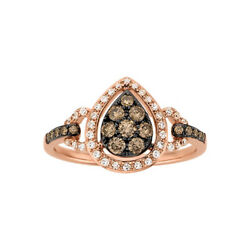 1/2 Ct White And Brown Natural Diamond 14k Rose Gold Engagement Ring
