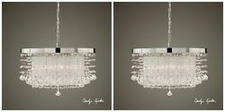 Two New Quality 21 Crystal Chrome Chandelier Ceiling Contemporary Dining Light