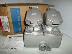 New In Box Eaton Crouse Hinds Enr22201 2-gang Receptacle 20a 125v 3/4
