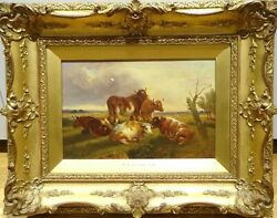 Landscape Cattle Resting Thomas Sidney Copper Original Signed Oil Painting.