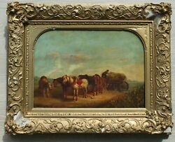 Charles Landseer Farmer With Hay Cart And Ponies Original O/c Sign Painting.