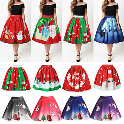Women Christmas High Waist Skirt Xmas Santa Pleated Tutu Swing Flared Dress Gift