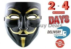 BLACK Anonymous  Protest V For Vendetta Movie Guy Fawkes Mask black and gold