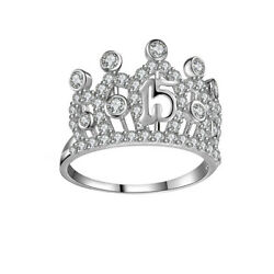 Cubic Zirconia Queen Crown Engagement Ring 18k White Gold Over Sterling Silver