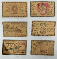 Lot Of 6 Leather Post Cards Early 20th Century Post Office Mail