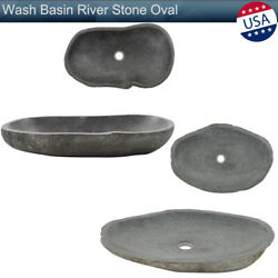 Wash Basin River Stone Oval Bathroom Washroom Sink Vessel Drain Bowl Low Height