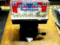 Vintage 1980's Budweiser Clydesdale Horses Wagon Lighted Bar Display