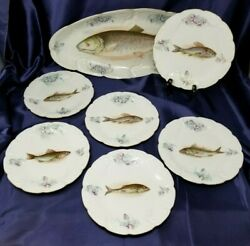 L. Straus And Sons, Fish Plates And Platter, Carlsbad, Austria