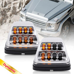 Clear Lens Dynamic Amber Led Front Turn Signal Light For 90-up Benz W463 G-class