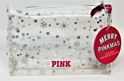 x1 Victoria#x27;s Secret Pink Clear Cosmetic Bag Silver Dots Stars Snowflake Makeup $11.04