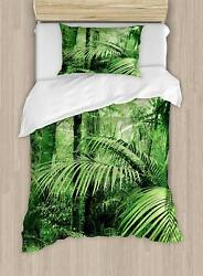 Ambesonne Rainforest Duvet Cover Set Palm Trees And Exotic Plants In Tropical J