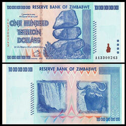 Zimbabwe 100 Trillion 2008 Aa Pick-90 Unc Authentic And Uv Passed Ship From Canada
