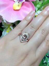2pcs High Quality Morganite And Diamond Engagement Ring 14k Solid Gold Womenand039s