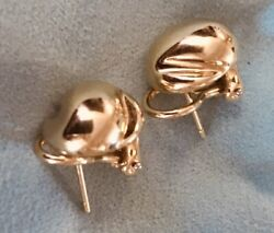And Co. 18k Yellow Gold 12 Grams Nugget Button Pierce Omega Back Earrings