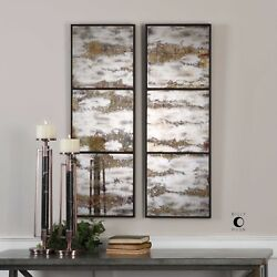 Two Rahila Xxl 42 Antiqued Aged Mirrors Wall Art Metal Frame Uttermost