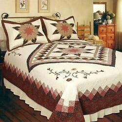 Heirloom Patchwork Twin Bed Quilt. Star Floral Quilt
