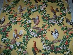 Brunschwig And Fils French Country Rooster Medallions Cotton Fabric 10 Yards Multi